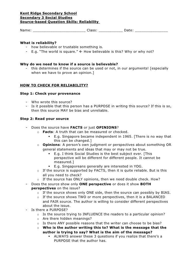 Sec 3 Social Studies SBQ Skill: Reliability notes