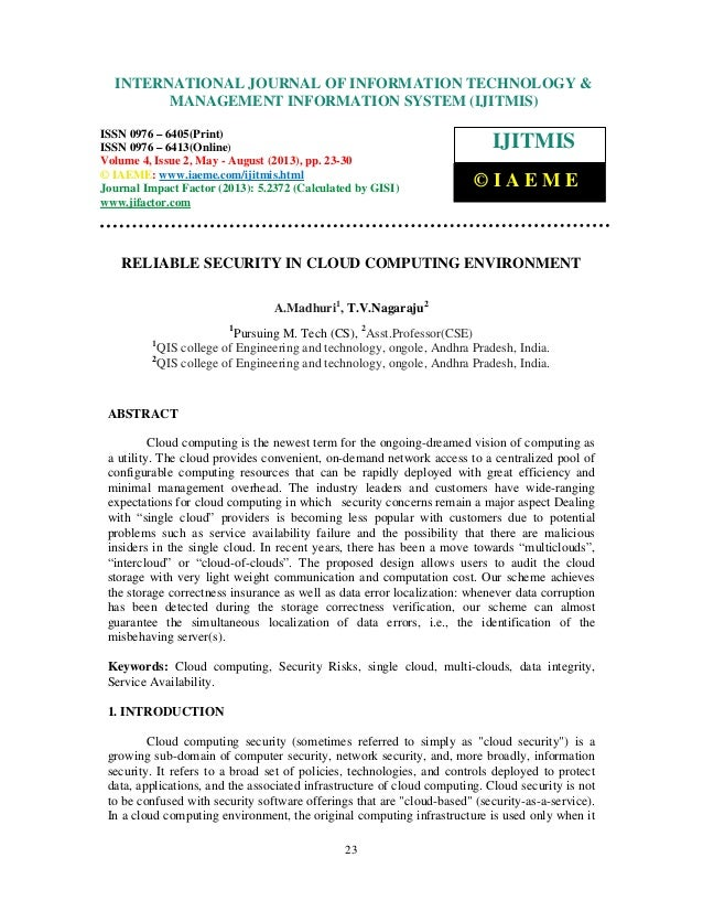 International Journal of Information Technology & Management Information System (IJITMIS), ISSN0976 – 6405(Print), ISSN 09...