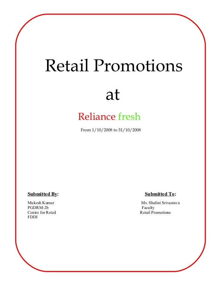 Reliance Fresh  Store Promotions