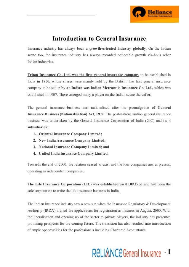 Reliance general ins
