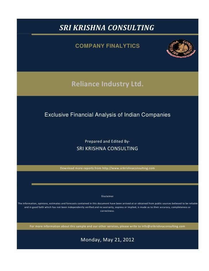Reliance industry report
