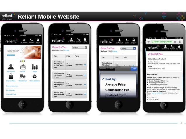 Reliant mobile website