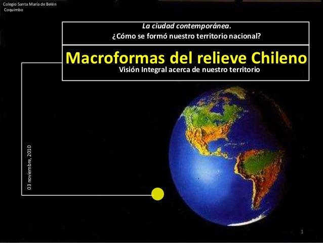 Macroformas del relieve Chileno La ciudad contemporánea. ¿Cómo se formó nuestro territorio nacional? Visión Integral acerc...