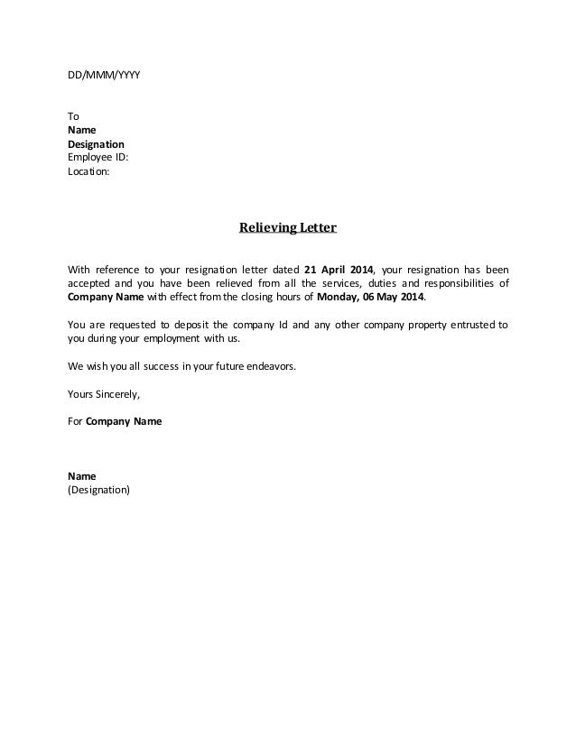 General Resume Formats Of Relieving Letter