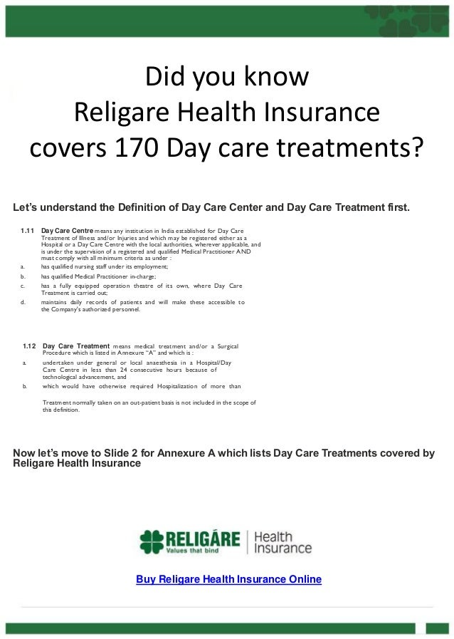 Did you know Religare Health Insurance covers 170 Day care treatments? Let's understand the Definition of Day Care Center ...