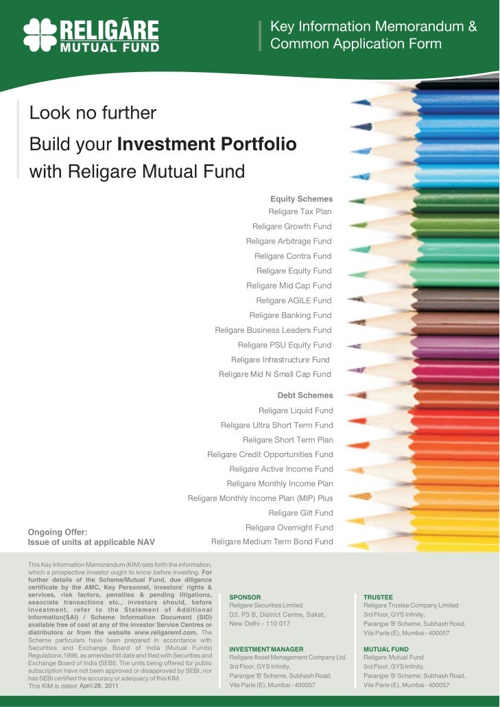 Religare Infrastructure Fund                  Religare Mid N Small Cap Fund                 Religare Medium Term Bond Fund...