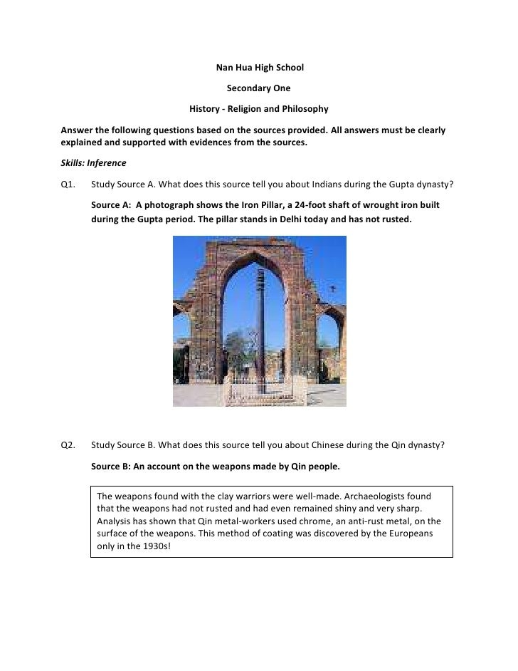 Nan Hua High School<br />Secondary One<br />History - Religion and Philosophy<br />Answer the following questions based o...