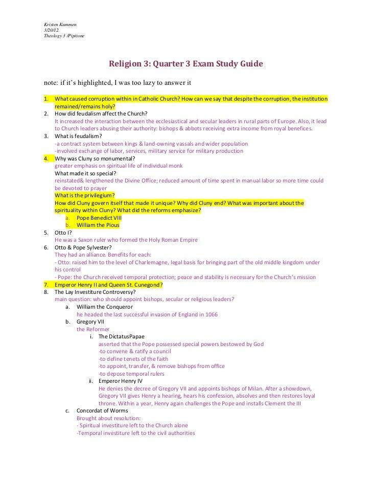 Religion 3 quarter 3 exam study guide