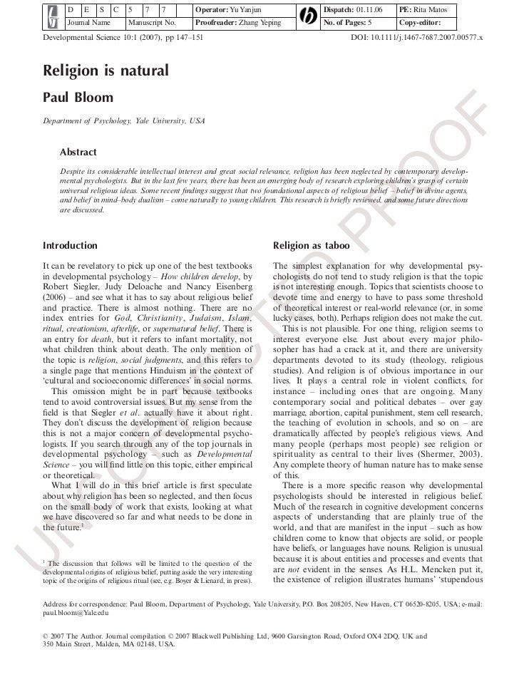 Religion is natural (bloom 2007)