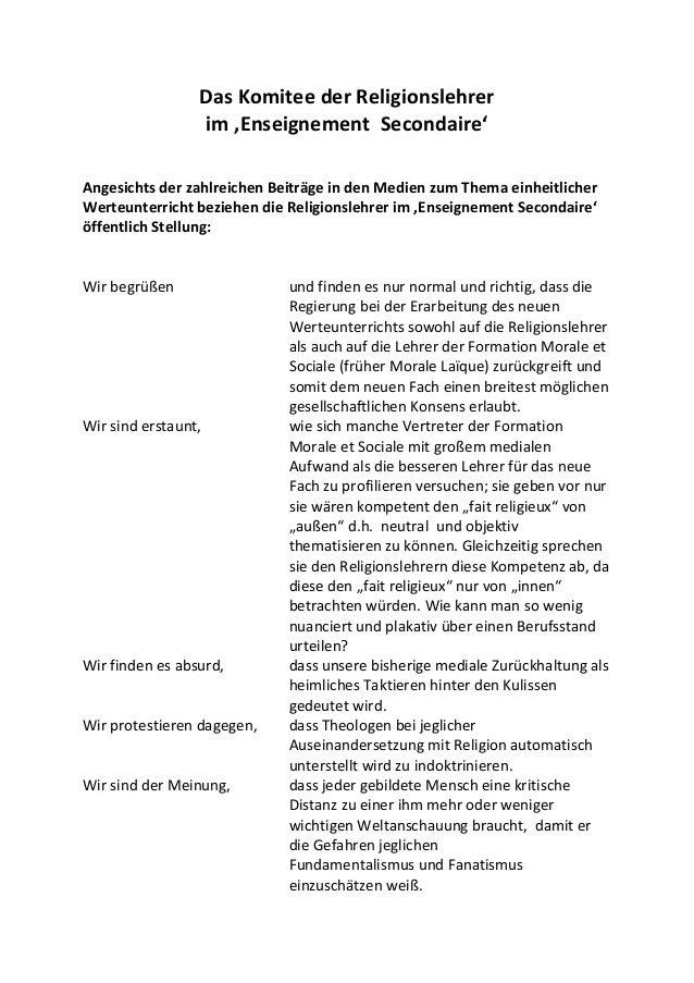 Das Komitee der Religionslehrer im 'Enseignement Secondaire' Angesichts der zahlreichen Beiträge in den Medien zum Thema e...