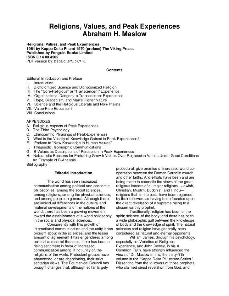 Religions, Values, and Peak Experiences                        Abraham H. MaslowReligions, Values, and Peak Experiences196...