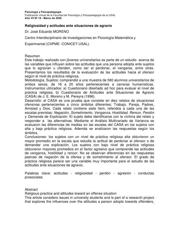 Psicología y Psicopedagogía. Publicación virtual de la Facultad de Psicología y Psicopedagogía de la USAL Año VII Nº 18 - ...