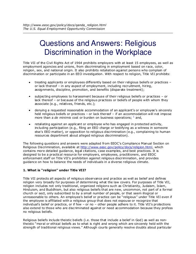 religion discrimination essay