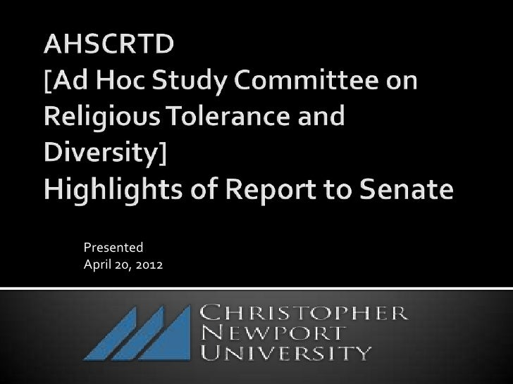 CNU Ad Hoc Study Committee: Religious Tolerance and Diversity