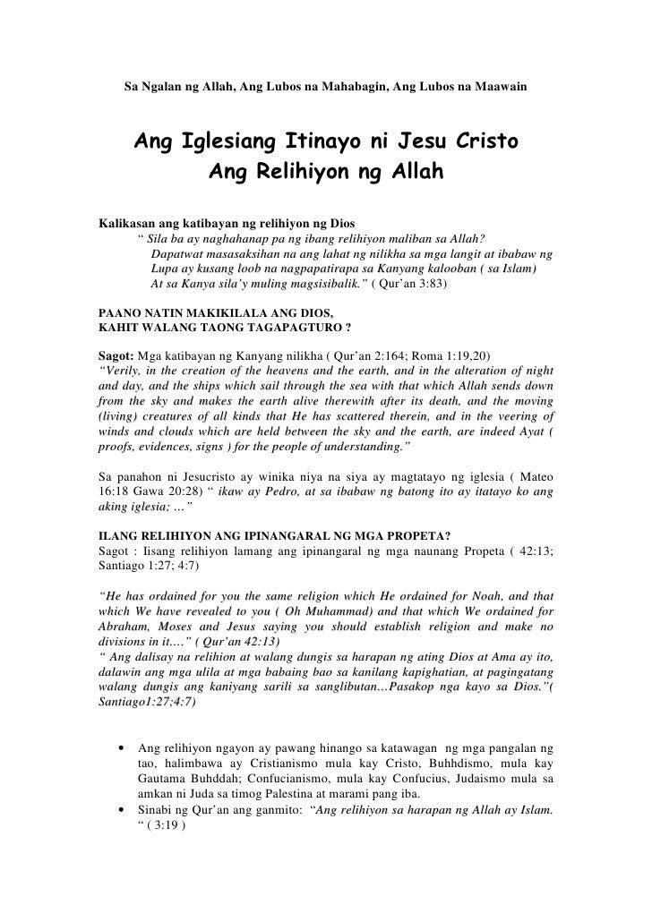 Sa Ngalan ng Allah, Ang Lubos na Mahabagin, Ang Lubos na Maawain            Ang Iglesiang Itinayo ni Jesu Cristo          ...
