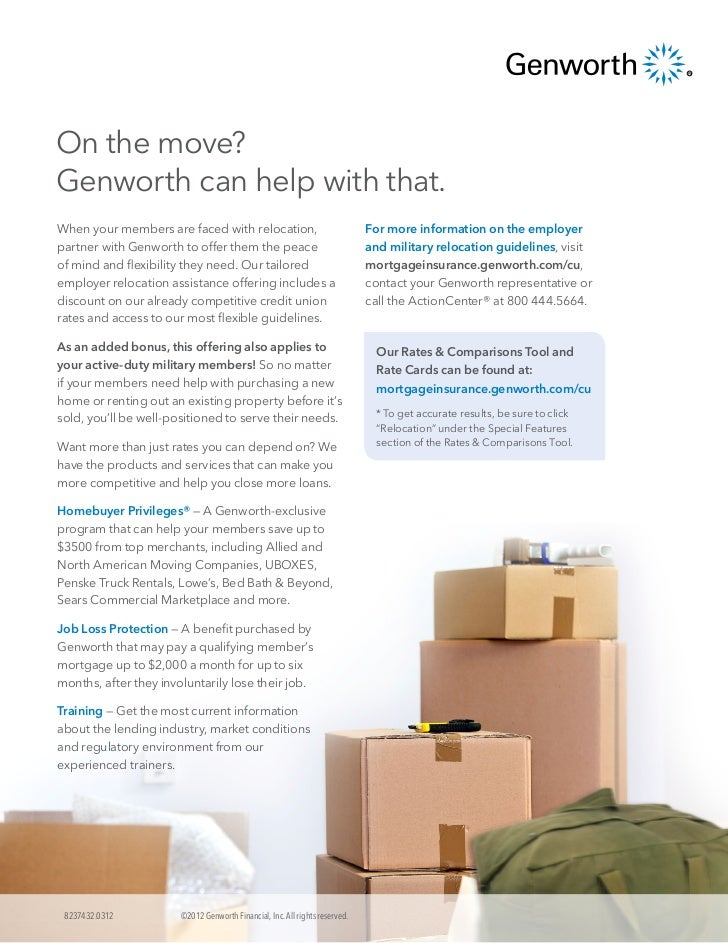 Genworth's Relocation Flier for Credit Unions