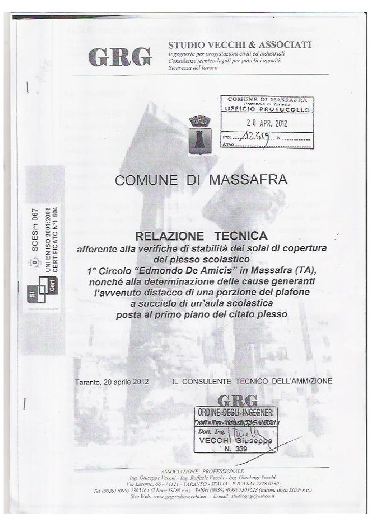 """Relazione tecnica 2012 Vecchi sul plesso scolastico """"Edmondo De Amicis""""di Massafra"""