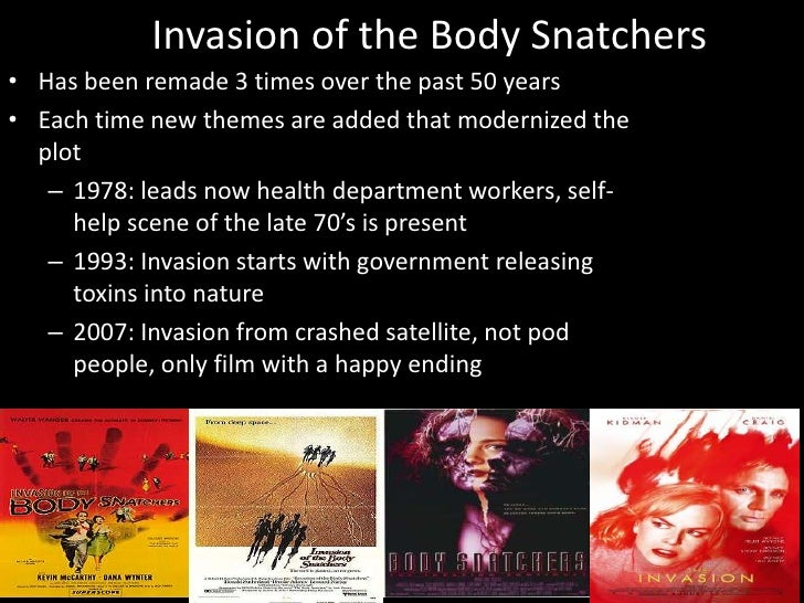 "the body snatchers essay Invasion of the body snatchers (1956) is among the best known films in the ""b movie"" category b movies films exploded in the fifties, along with the drive-in."
