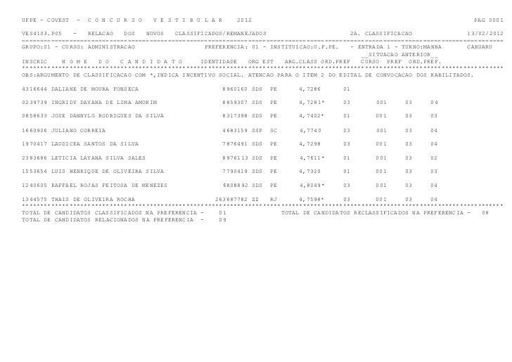 UFPE - COVEST   -   C O N C U R S O   V E S T I B U L A R       2012                                                      ...