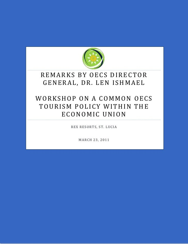 Remarks by OECS Director General - Common Tourism Policy Worksho