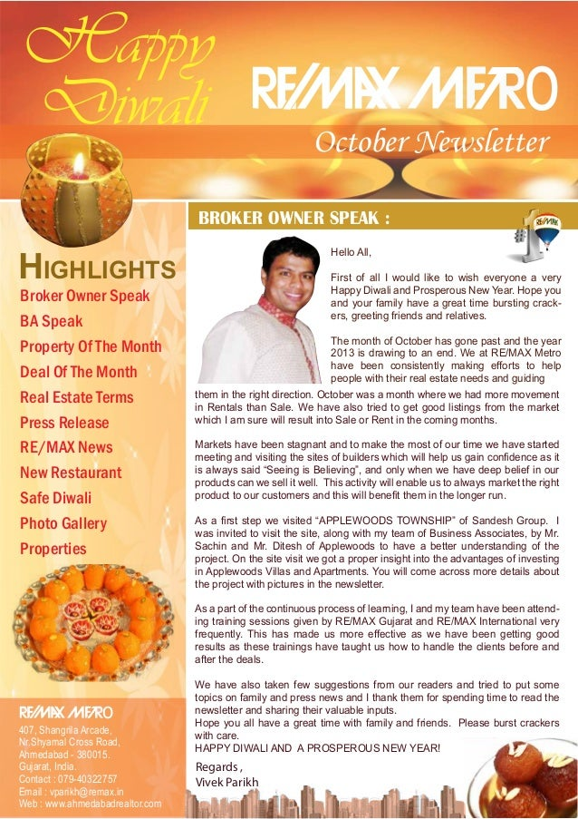 Happy Diwali  o  October Newsletter  BROKER OWNER SPEAK :  HIGHLIGHTS Broker Owner Speak BA Speak Property Of The Month De...
