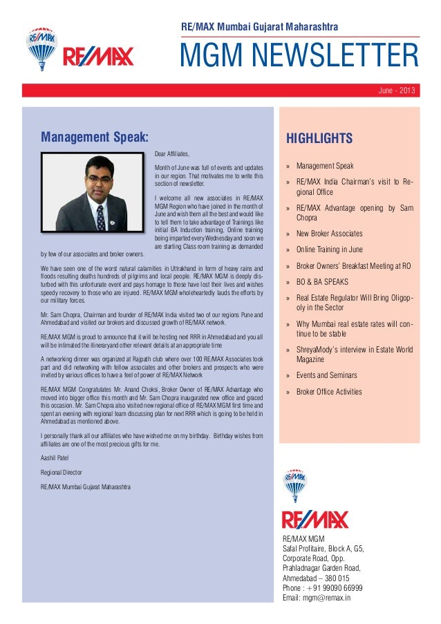 MGM NEWSLETTER June - 2013 RE/MAX MGM Safal Profitaire, Block A, G5, Corporate Road, Opp. Prahladnagar Garden Road, Ahmeda...