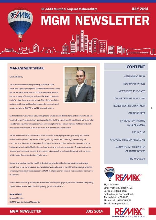 RE/MAX Mumbai Gujarat Maharashtra Newsletter July 2014
