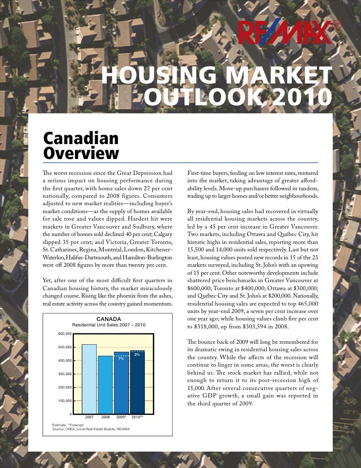 R                                     HOUSING MARKET                                   OUTLOOK 2010 Canadian Overview The ...