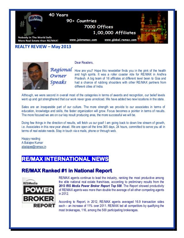 REALTY REVIEW – May 2013 Although, we were second in overall most of the categories in terms of awards and recognition, ou...