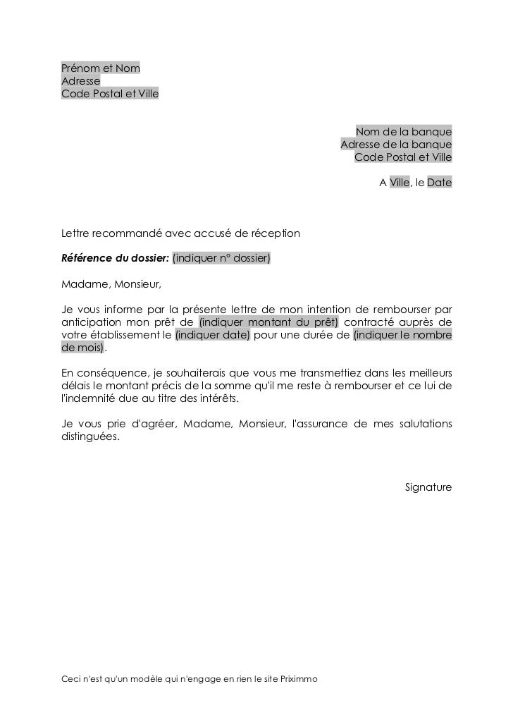 Modele lettre remboursement anticipe de pret document online - Document pret immobilier ...
