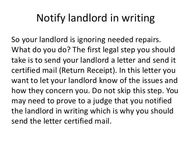 sample letters to landlords for repairs