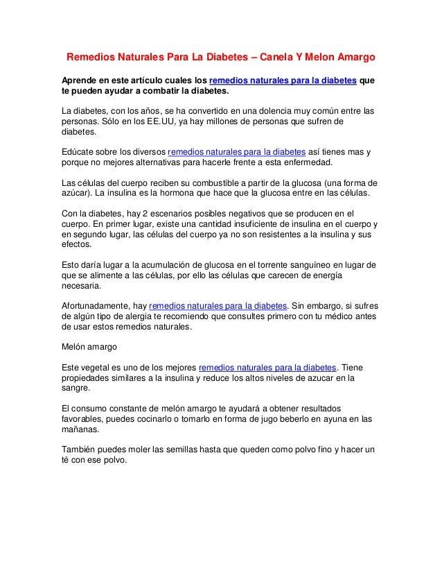 Remedios Naturales Para La Diabetes – Canela Y Melon AmargoAprende en este artículo cuales los remedios naturales para la ...