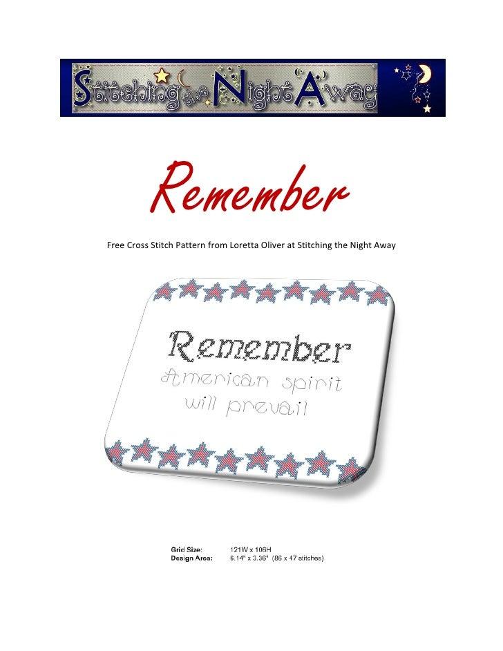 RememberFree Cross Stitch Pattern from Loretta Oliver at Stitching the Night Away