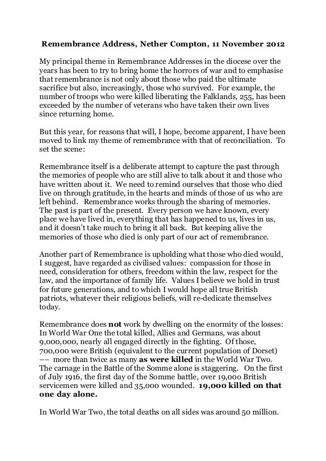 Remembrance Address, Nether Compton, 11 November 2012My principal theme in Remembrance Addresses in the diocese over theye...