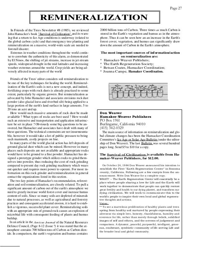 Page 27                          REMINERALIZATION  In Friends of the Trees Newsletter #8 (1985), we reviewed          2000...