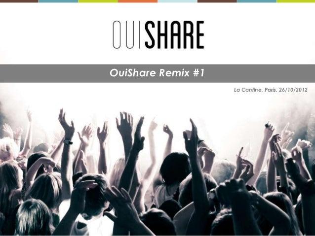 OuiShare Remix #1                    La Cantine, Paris, 26/10/2012