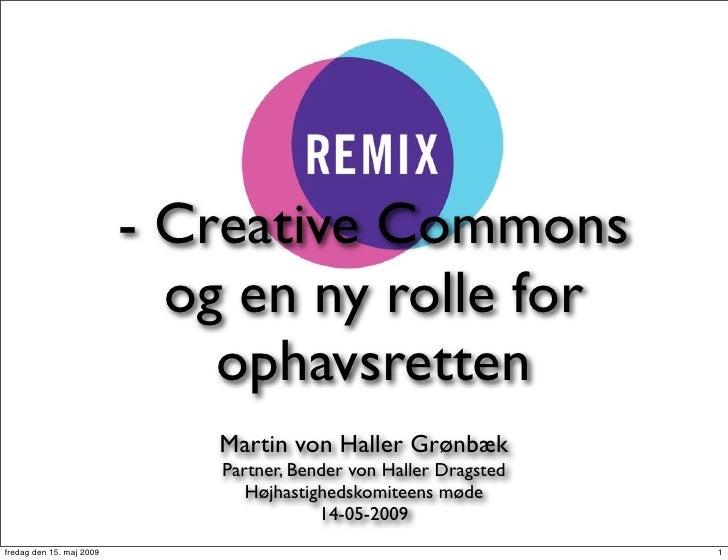 - Creative Commons                             og en ny rolle for                               ophavsretten              ...