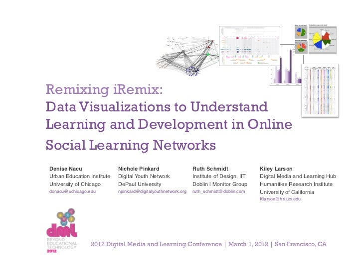 Remixing iRemix:Data Visualizations to UnderstandLearning and Development in OnlineSocial Learning NetworksDenise Nacu!   ...