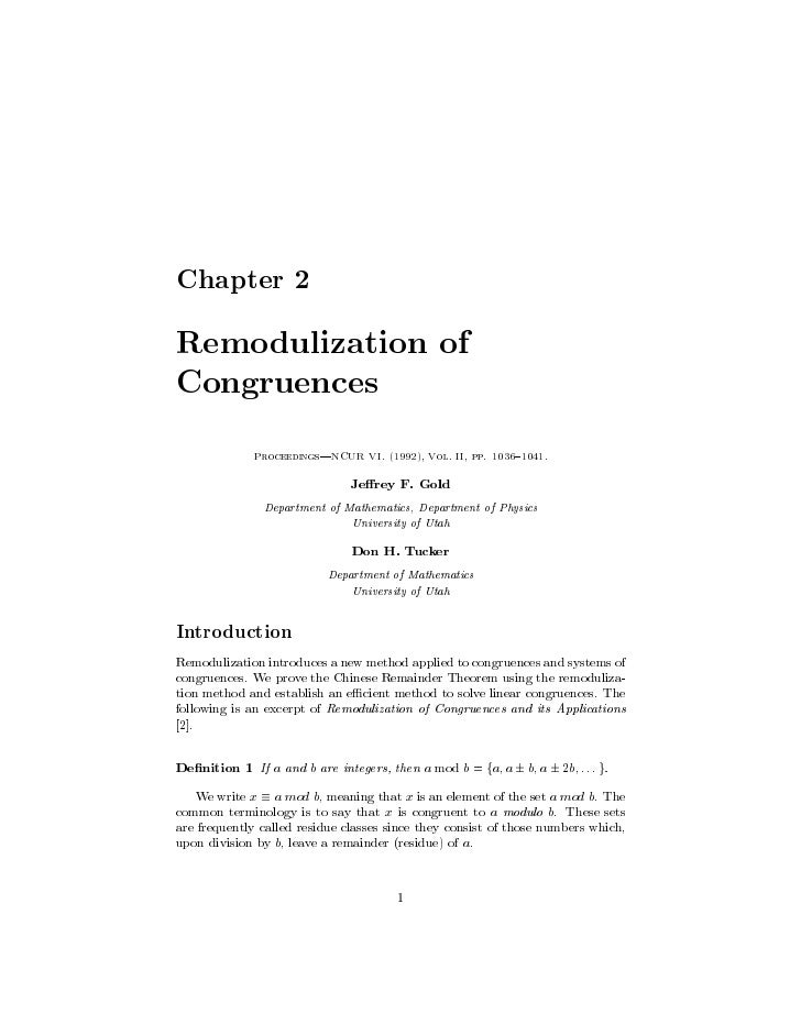 Remodulization of Congruences