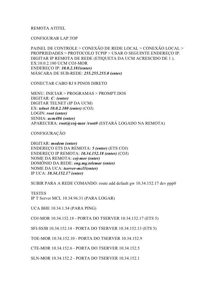 REMOTA ATITEL  CONFIGURAR LAP.TOP  PAINEL DE CONTROLE > CONEXÃO DE REDE LOCAL > CONEXÃO LOCAL > PROPRIEDADES > PROTOCOLO T...