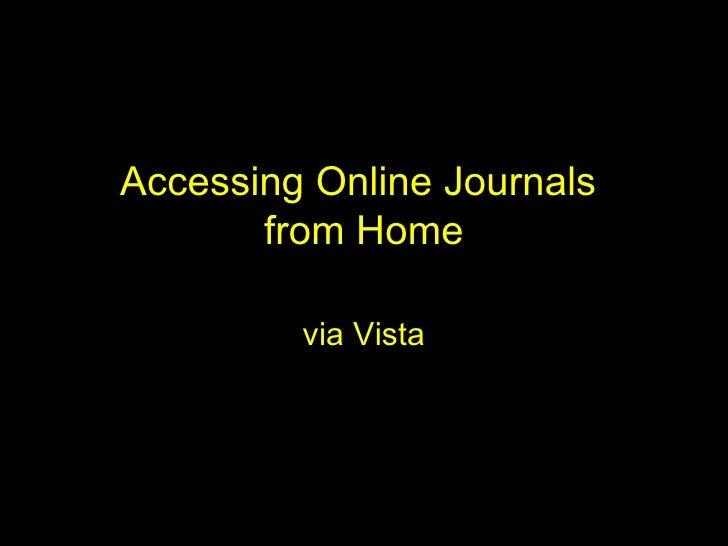 Remote Access Using Windows Vista