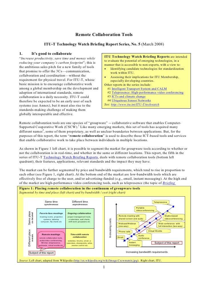 RemoteCollaborationTools                                                ITUTTechnologyWatchBriefingReport Series,...