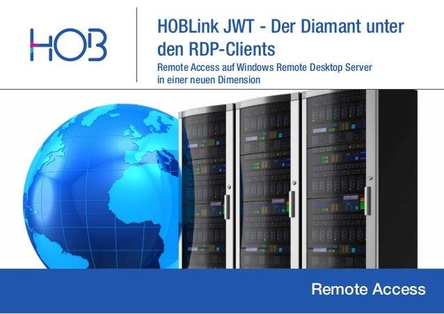 HOB GmbH & Co. KG21.08.2012HOBLink JWT - Der Diamant unterden RDP-ClientsRemote AccessRemote Access auf Windows Remote Des...