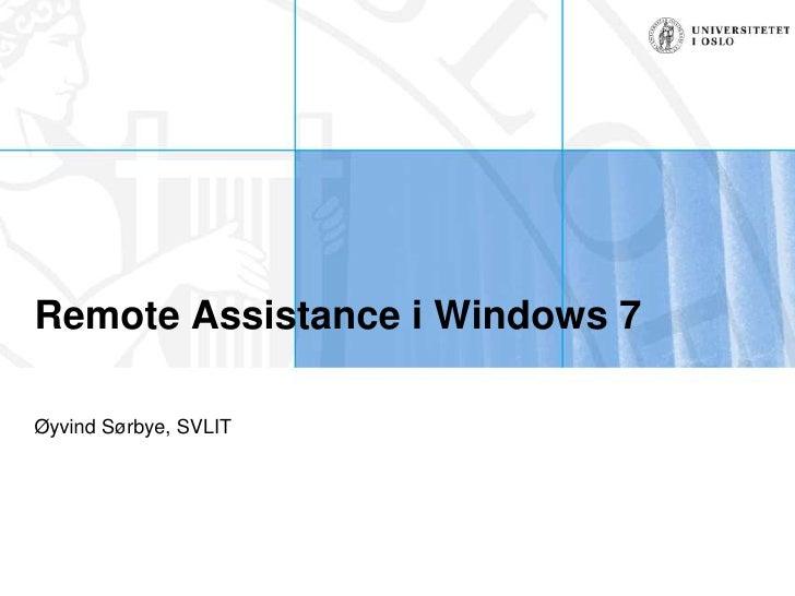 Remote Assistance i Windows 7
