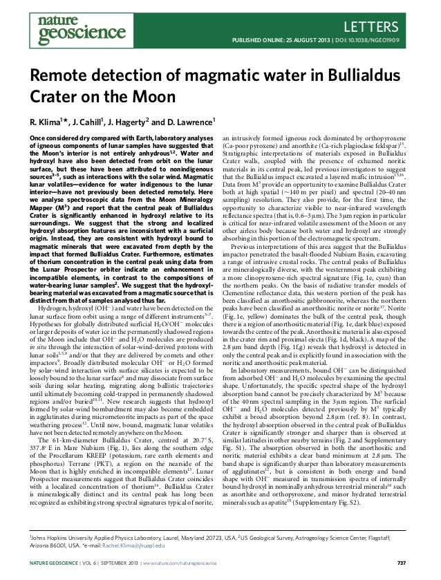 LETTERS PUBLISHED ONLINE: 25 AUGUST 2013 | DOI: 10.1038/NGEO1909 Remote detection of magmatic water in Bullialdus Crater o...