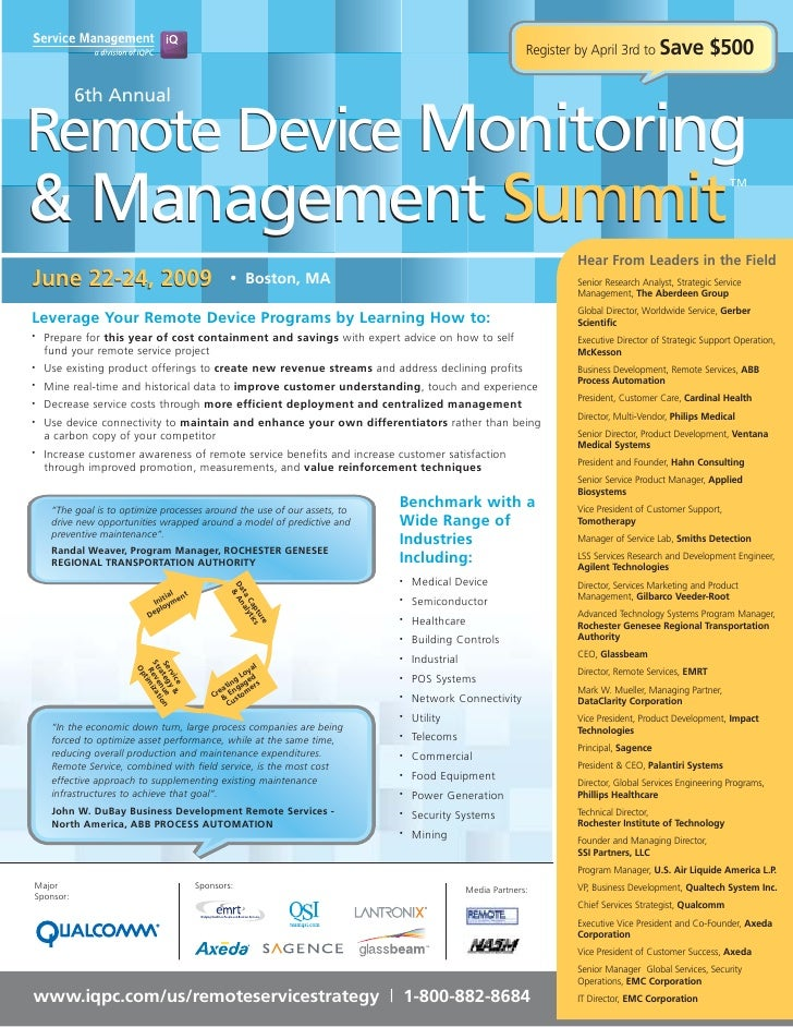 Register by April 3rd to Save             $500             6th Annual  Remote Device Monitoring & Management Summit       ...