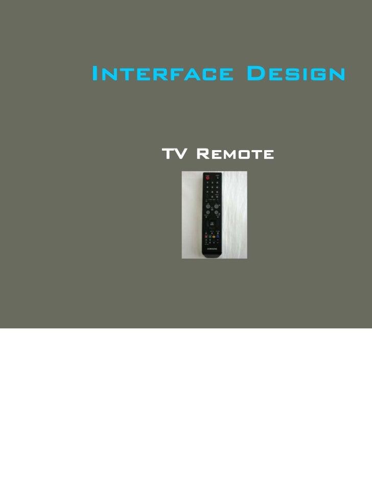 Interface Design    TV Remote