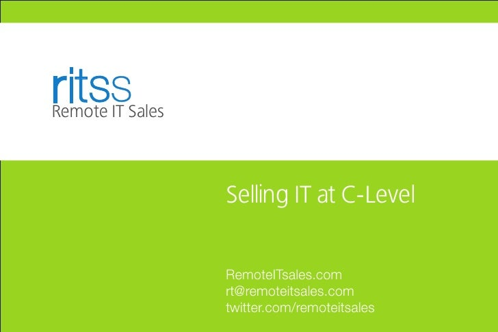 ritss Remote IT Sales                      Selling IT at C-Level                     RemoteITsales.com                   r...