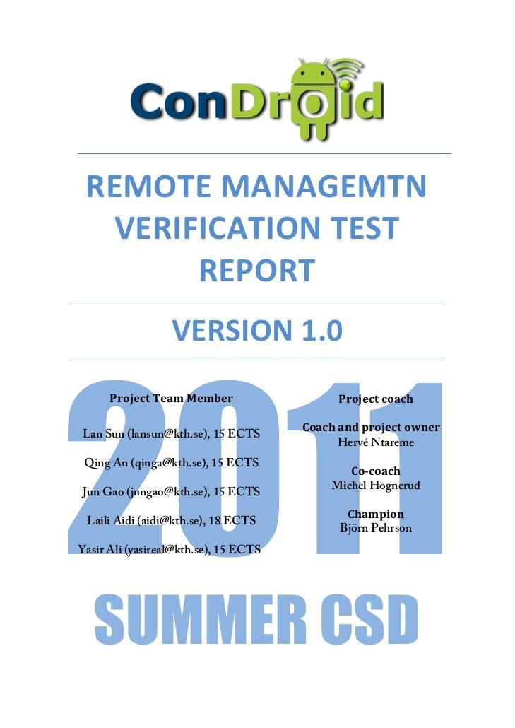 REMOTE MANAGEMTN                  VERIFICATION TEST                       REPORT              ...