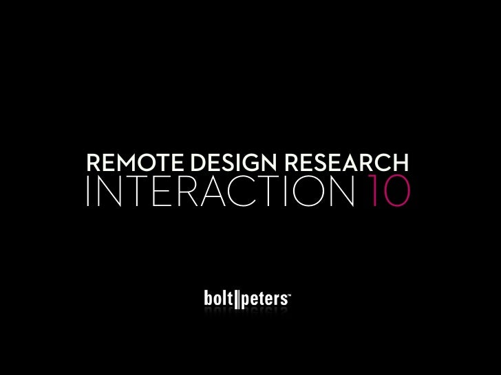 REMOTE DESIGN RESEARCH INTERACTION 10